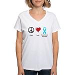 Peace, Love, Dysautonomia Awareness Women's V-Neck