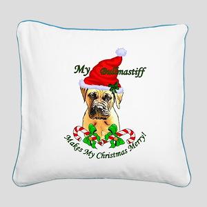 Bullmastiff Christmas Square Canvas Pillow