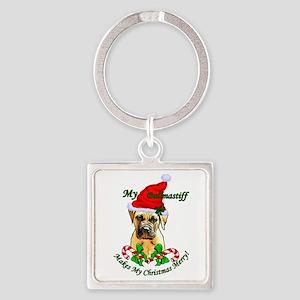 Bullmastiff Christmas Square Keychain