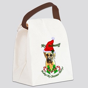 Bullmastiff Christmas Canvas Lunch Bag