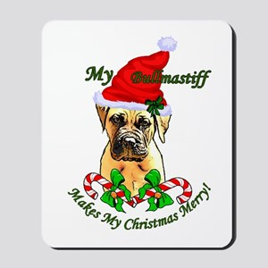 Bullmastiff Christmas Mousepad