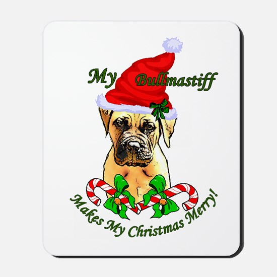 Bullmastiff Christmas Mousepad