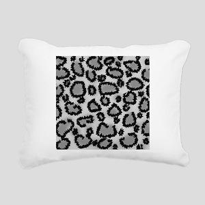 Gray Leopard Print. Rectangular Canvas Pillow