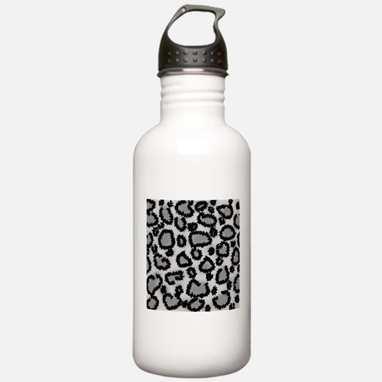 Gray Leopard Print. Water Bottle