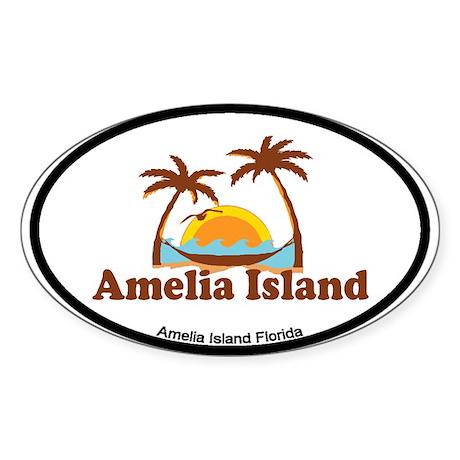 Amelia Island - Palm Trees Design. Sticker (Oval)