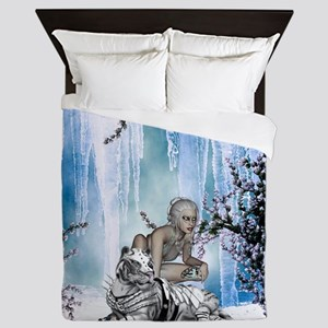 Awesome snow tiger with fantasy girl Queen Duvet