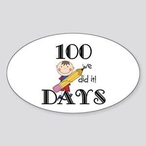 Stick Figure 100 Days Sticker (Oval)