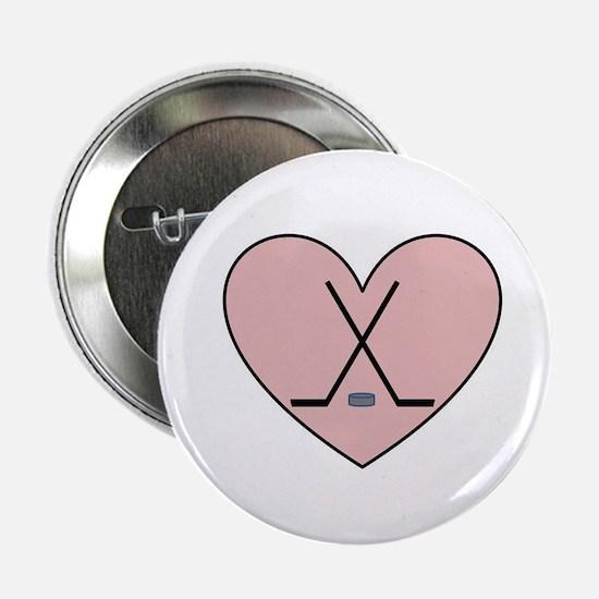 "Hockey Heart 2.25"" Button"