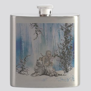 Awesome snow tiger with fantasy girl Flask