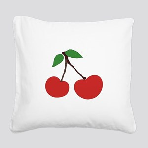 cherries (single) Square Canvas Pillow