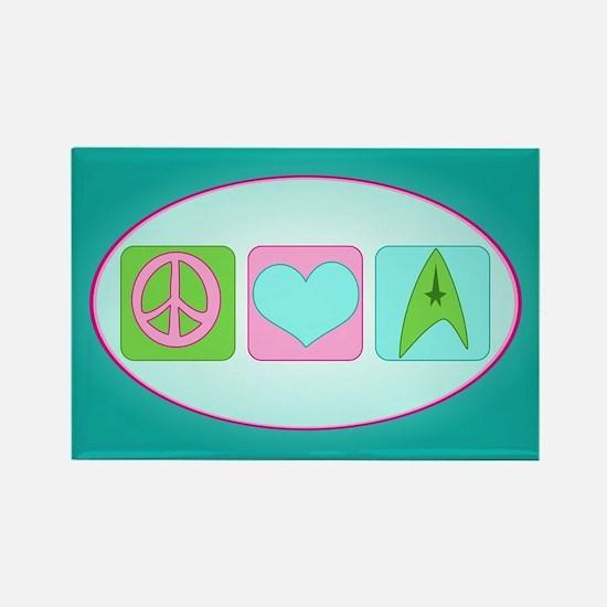 Peace Love Trekkin' Rectangle Magnet