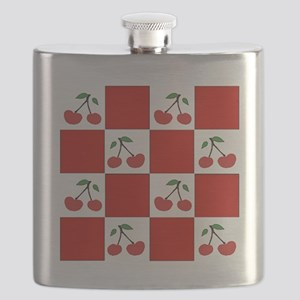 cherries (red check) Flask