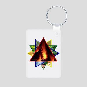Fire Element Star Aluminum Photo Keychain