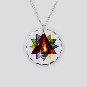 Fire Element Star Necklace Circle Charm