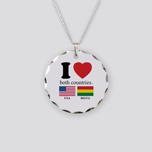 USA-BOLIVIA Necklace Circle Charm