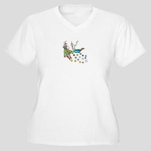 polka dots Women's Plus Size V-Neck T-Shirt