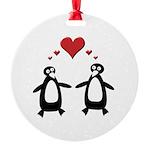 Penguin Hearts Round Ornament