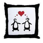 Penguin Hearts Throw Pillow