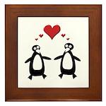 Penguin Hearts Framed Tile
