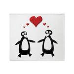 Penguin Hearts Throw Blanket