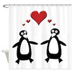 Penguin Hearts Shower Curtain