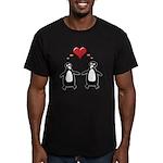 Penguin Hearts Men's Fitted T-Shirt (dark)