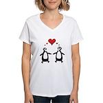 Penguin Hearts Women's V-Neck T-Shirt