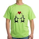 Penguin Hearts Green T-Shirt