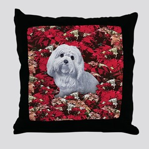 Maltese Poinsettia Christmas Holiday Throw Pillow