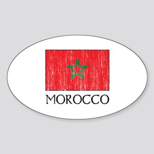 Morocco Flag Oval Sticker