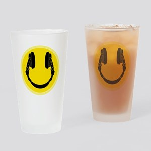 Headphone Smiley Face Drinking Glass