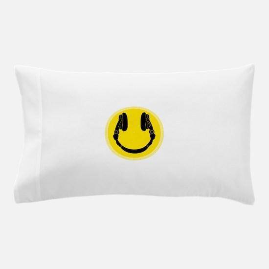 Headphone Smiley Face Pillow Case
