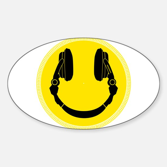 Headphone Smiley Face Sticker (Oval)