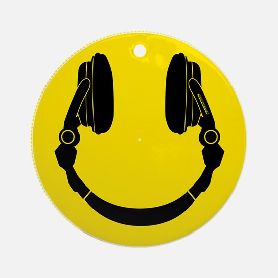Headphone Smiley Face Ornament (Round)