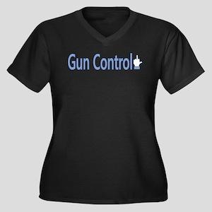 Gun Control Dislike Women's Plus Size V-Neck Dark