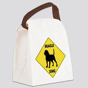 Beagle Crossing Sign Canvas Lunch Bag