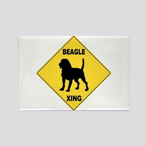 Beagle Crossing Sign Rectangle Magnet