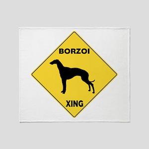 Borzoi Crossing Sign Throw Blanket