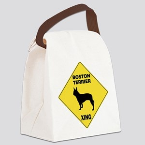 Boston Terrier Crossing Sign Canvas Lunch Bag