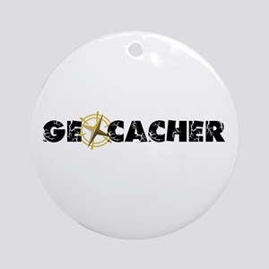 Geocacher with compass as O Ornament (Round)