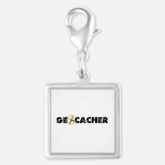 Geocacher with compass as O Silver Square Charm
