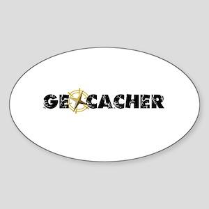 Geocacher with compass as O Sticker (Oval)