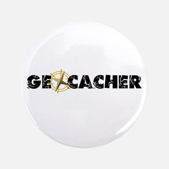 """Geocacher with compass as O 3.5"""" Button"""
