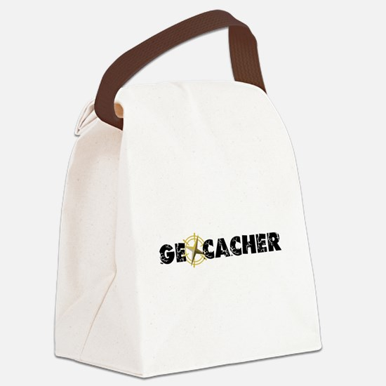 Geocacher with compass as O Canvas Lunch Bag