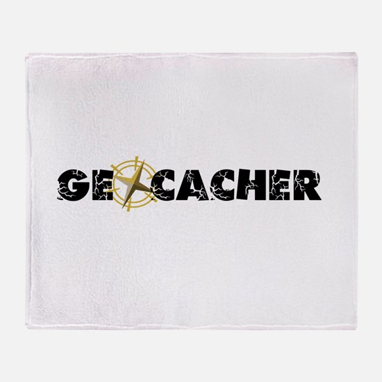 Geocacher with compass as O Throw Blanket