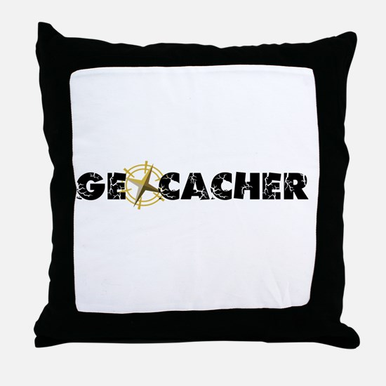 Geocacher with compass as O Throw Pillow