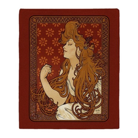 Art Nouveau Long Haired Woman Throw Blanket