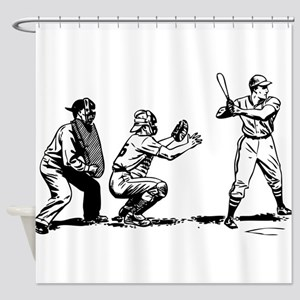 Batter Catcher Umpire Shower Curtain