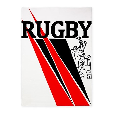 Rugby Line Out Red Black 5'x7'Area Rug
