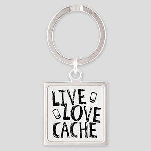 Live, Love, Cache Square Keychain
